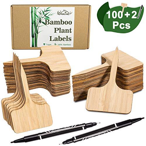Whaline 100Stk Pflanzschilder Bambus, T-Form Pflanzenstecker zum Beschriften Stecketiketten mit eine Box, und 2Stk Marker Pen für Baumschulen Pflanzenzucht Zierpflanzen Topfkräuter Blumen Gemüse