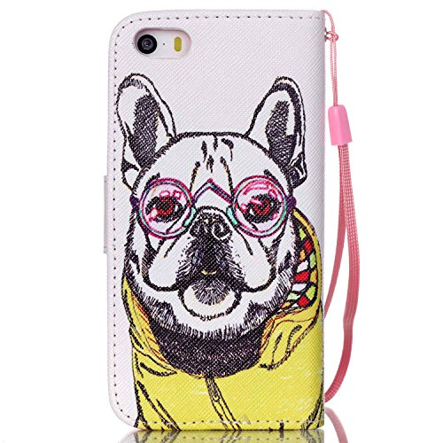 iPhone 5S Hülle, ISAKEN iPhone 5S 5 Hülle Muster, Handy Case Cover Tasche for iPhone 5S/5, Bunte Retro Muster Druck Flip Cover PU Leder Tasche Case Schutzhülle Hülle Handy Tasche Etui Schale mit Stand Hund Kleidung