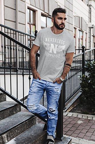 Neverless Herren T-Shirt Supply Adler Wings Slim Fit Adler grau