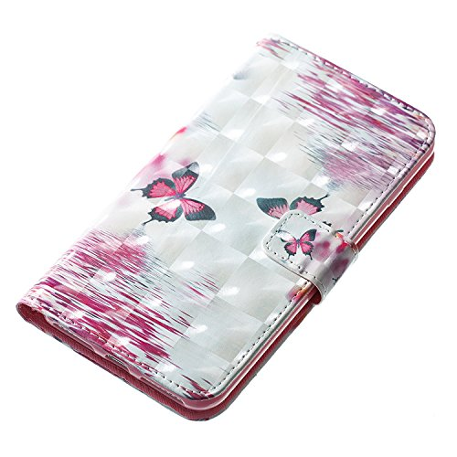 Custodia iPhone 7 Plus/iPhone 8 Plus (5.5), EUWLY Flip Cover Leather Wallet Case Custodia per iPhone 7 Plus/iPhone 8 Plus (5.5) in PU Pelle, Bling Bling Custodia Cover con Ultra Sottile Interno Sili Farfalla Rosso Nero