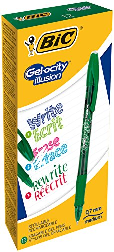 BIC Gel-ocity Illusion Penne Gel Cancellabili Punta Media (0,7 mm) - Verdi, Scatola Da 12