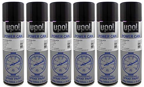 U-POL 6 x Power Peut Noir brillant Peinture Peut Aérosol 500 ml UPol Powercan Noir brillant - Brillant, durable, Top Coat de voiture de roue Corps Peinture 6 500 ml Aérosol canettes