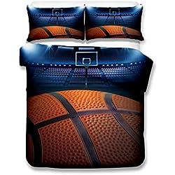 Big baloncesto 3d juego de ropa de cama de funda nórdica realista cama hoja # 2, 100% poliéster, basketball, matrimonio