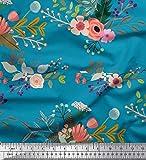 Soimoi Blau Seide Stoff Blätter & Blumen kunstlerisch