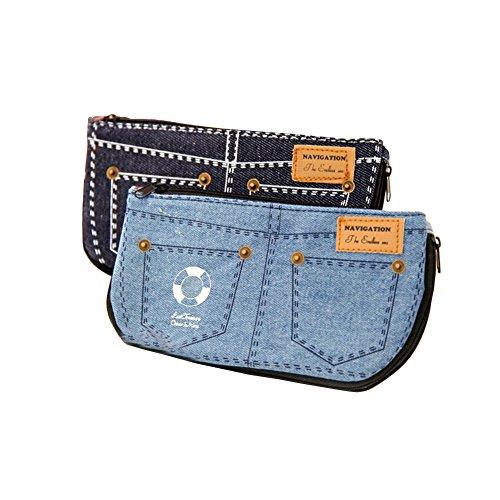 bigforest Lovely Jeans Hosen Stil Leinwand Federmäppchen PU Stift Bag Kosmetik Make-up Tasche mit Reißverschluss für Mädchen Jungen Schul-Set von 2 - Hosen-stil Jeans