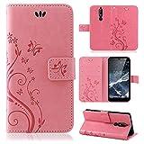 betterfon | Flower Case Handytasche Schutzhülle Blumen Klapptasche Handyhülle Handy Schale für Nokia 5.1 Rosa