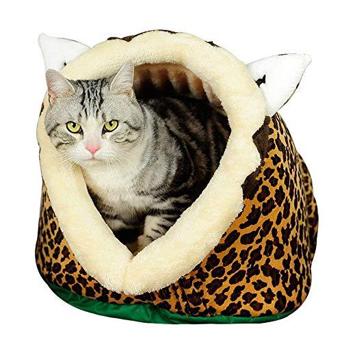 FONGFONG Weich Warmes Haustier Höhle Bett mit Waschbar Kissen Katzenhöhle Nest Hundehöhle Haus Kuschelhöhle für Kleine Mittlere Hunde Katzen Form des Leopard XXL