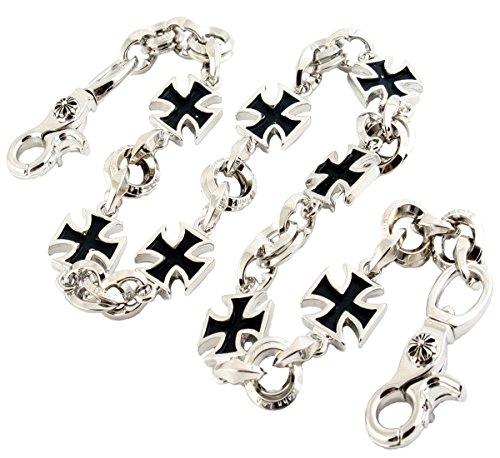 Iron Cross Hat (DoubleK Heavy Iron Cross Börsenkette Biker Schlüsselkette Keychain Wallet Chain (72cm) Silber NCS95)