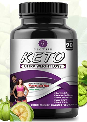 Glowsik Keto Capsules Ultra Weight Loss Fat Burner Supplement with (Green Tea + Garcinia Cambogia + Green Coffee) Extract 1000Mg - 90 Capsules