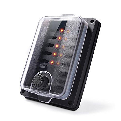MICTUNING Wasserdicht 10 Fach KFZ Sicherungskasten Sicherungshalter mit Led-Anzeige für Auto Schiff (Bus Sicherung 12v)