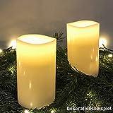 COSYLUX® Echtwachskerze mit natürlicher Flackerfunktion Kerze Flamme Stumpen Timer, 2er Set creme, Weihnachten Advent Herbst Hochzeit