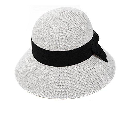 SIGGI Sonnenhut weißer Strandhut Sun Shade Hut Sonnenschutz mit breite Krempe für Damen