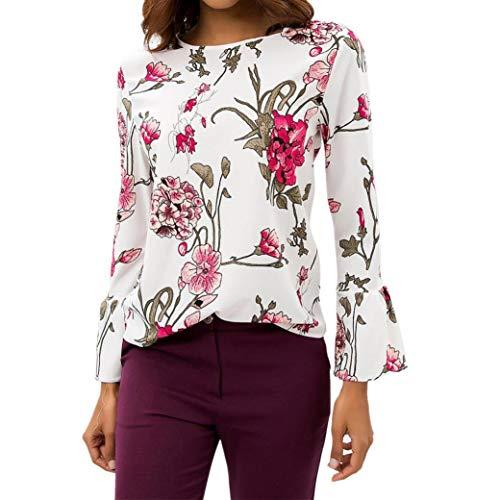 iHENGH Damen Top Women LäSsiger Chiffon Floraler Aufdruck O-Neck Flare Sleeve T-Shirt Bluse Pullover Tops Cord-flare Jeans