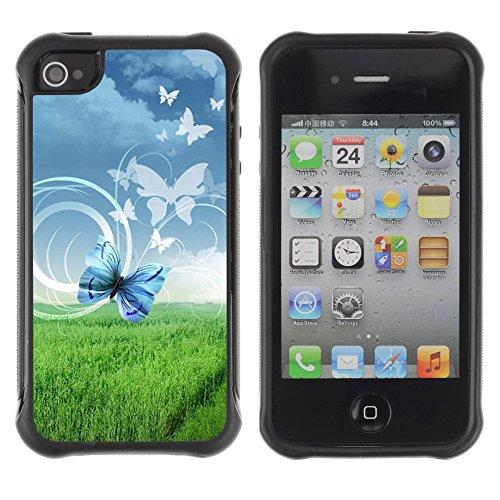Graphic4You Blue Butterfly And Flowers Design Harte Hülle Case Tasche Schutzhülle für Apple iPhone 4 und 4S Design #4