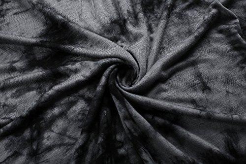 KorMei Damen Casual Tunika Langzarm T-Shirt Falten Pullovershirt mit Stretch V-ausschnitt Schwarz#2