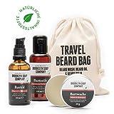 Brooklyn Soap Company: Travel Bag · Hochwertiges Bartpflege-Set als Reise-Set für Männer mit gepflegtem Bart · Bartshampoo, Bartöl & Bartwachs ✓
