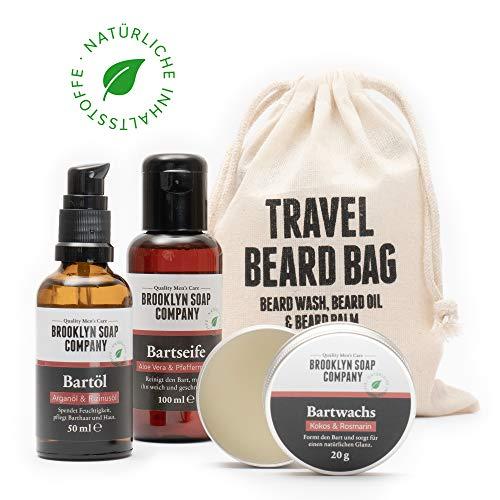 Bartpflege-Set: Travel Bag ✔ bestehend aus Bartseife, Bartöl, Bartwachs ✔ Naturkosmetik der BROOKLYN SOAP COMPANY ® ✔ Geschenkidee als Geschenk für Männer und als Reiseset für den modernen Mann