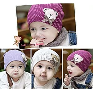 Ziory 1 Pcs Purple Cute Winter Autumn Newborn Crochet warm Cotton Baby beanie Hat Girl Boy Cap Children Unisex Bear…