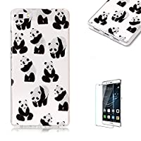 For Huawei P8 Lite Sparkly Sequins soft TPU+IMD Case. Brilliant lovely Colored Drawing Parttern Lightweight Ultra Slim Anti Scratch Transparent Soft Gel Silicone TPU Bumper Protective Case Cover Shell for Huawei P8 Lite - Panda