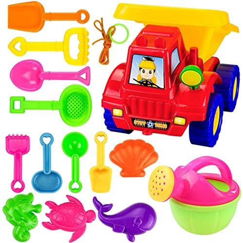 Juguetes de playa,CHshe❤❤,Juego de juegos de lujo para niños Beach Toys - Juego de 14 palas de arena para camión volquete grande (colores surtidos) (Como se muestra)