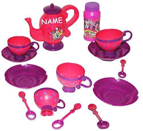 ifenblasen -  My Little Pony  - incl. Name - Teeservice + Seifenblasenstäbe + Nachfüllflasche - Seifenblasenspiel - Geschirr Kaffeeservice - Küche.. ()