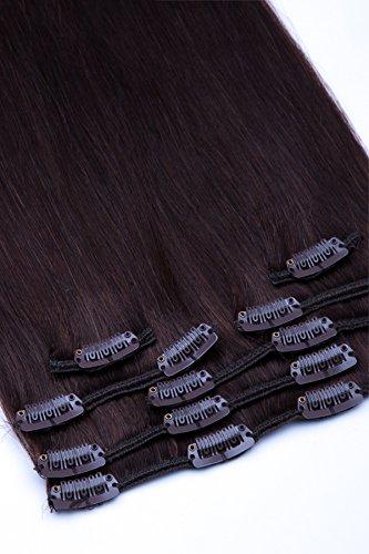Clip In Extensions Set 100% Echthaar 7 teilig 70g Haarverlängerung 45cm Clip-In Hair Extension Nr. 2 Dunkelbraun