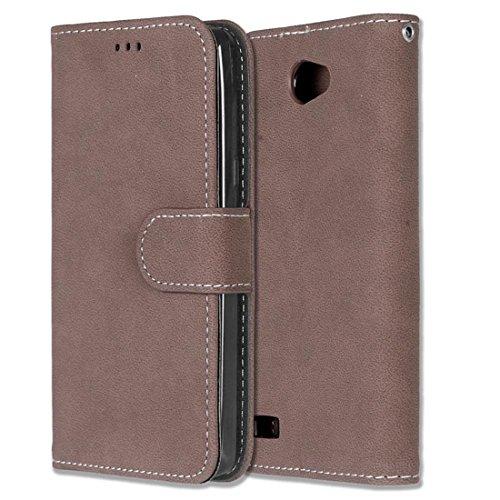 Chreey LG Bello II/Bello 2 Hülle, Matt Leder Tasche Retro Handyhülle Magnet Flip Case mit Kartenfach Geldbörse Schutzhülle Etui [Braun]