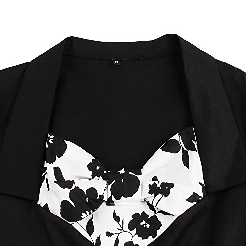 Zaful Robe Vintage Rétro années 1950 's Style Audrey Hepburn Rockabilly Swing Manches 3/4 Robe de Soirée Cocktail Grande Taille Plissé Elégant Noir - fleurs