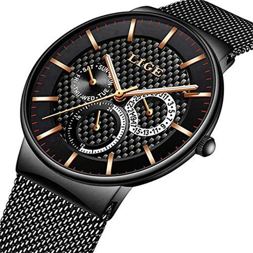 LIGE Herrenuhr Wasserdicht Rostfreier Stahl Analog Quarzuhren Mode Lässig Datumskalender Armbanduhr