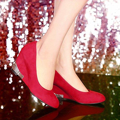 Fechado Moderno Mee Bombas Senhoras Cunha Bico Nobuk Calcanhar Redondo Sapatos Vermelho Especialmente Confortável 6wH7WwORq