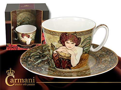 Carmani Alphonse Mucha Precious Tasse mit Untertasse Design Smaragd
