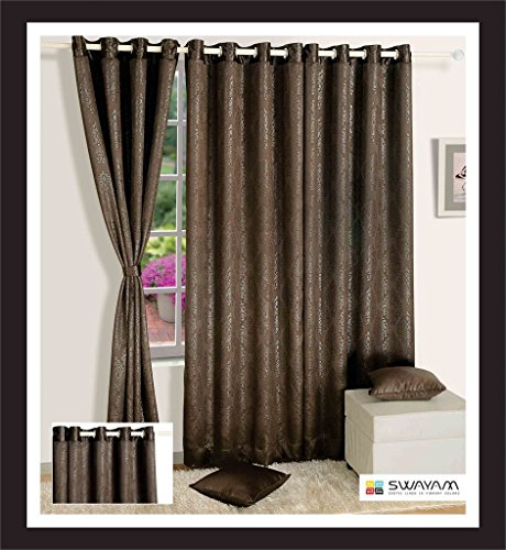 Swayam Printed J&B Blackout Paisley Eyelet Cotton Window Curtain - 5ft, Brown  available at amazon for Rs.749