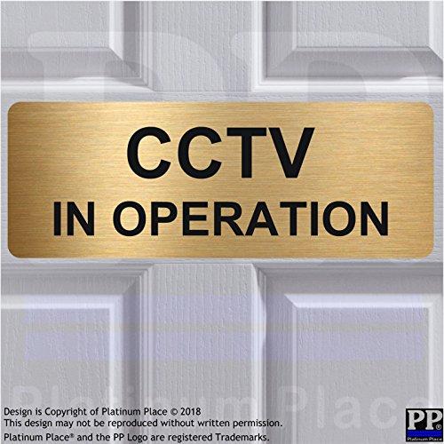 Aluminium CCTV in Operation sign-text only-brushed Gold metal-warning Sicherheit Sicherheit Kamera Tür Pinnwand Büro Shop Home Lager - Außerhalb Home-security-kameras Der