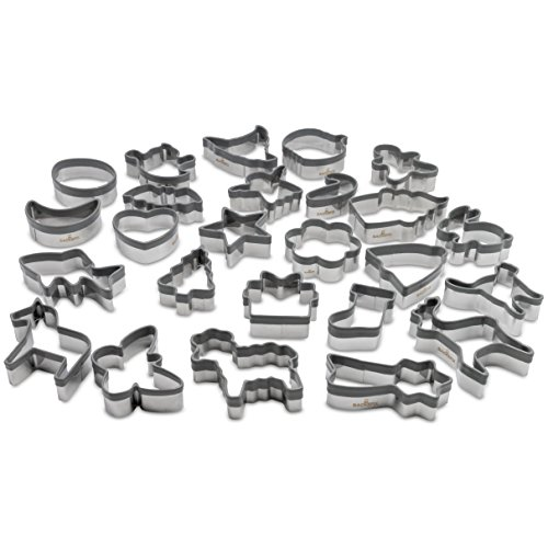 Backefix Keksausstecher Ausstechformen aus Edelstahl mit Silikon Schutz - Lebkuchen Tiere Fisch grau 25 Stück