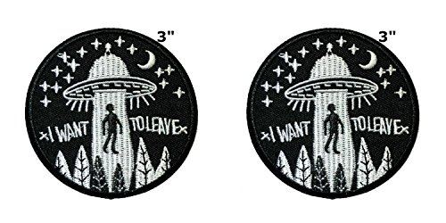 Applikation X-Files NASA Space Programm Classic I Want to Leave Cosplay Abzeichen bestickt Aufnäher Aufbügler Patch 2er Pack Geschenkset