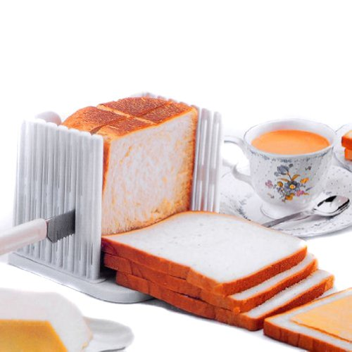 paaiter cocina Pro Pan Slicer Cortador Rebanador de corte cortes incluso rebanadas guía herramienta, Color blanco