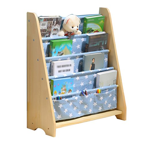 Holz Kinder Bücherregal Kinder Bücherregal Kinder Floorstanding Bibliothek Buch Wand Kindergarten Schule blau Bücherregal Bücherregal-bibliothek-wand