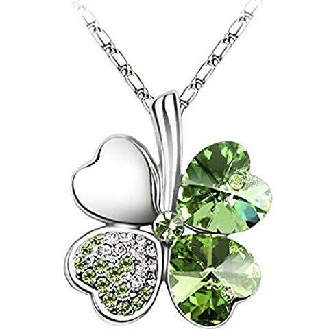 Lucky Clover Pendant Necklace Silver Womens Chain Faux Luck Diamond - FREE RED VELVET BOX