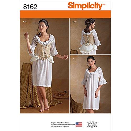 Simplicity Muster 8162Schnittmuster 18. Jahrhundert Dessous Schnittmuster, weiß, Größe R5