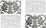 OOTB 4er Tischset: Klassisch Florales Vintage Design - Tisch Matten/Platzdeckchen / Tischunterlage/Essunterlage/ Platzset aus Kunststoff abwaschbar 42 x 28 cm - Transparent/silbergau/ Schwarz