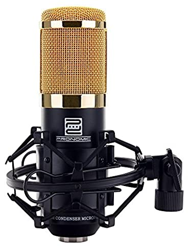 Pronomic CM-100S Studio Large Diaphragm Microphone XLR Condenser Microphone (32 mm Capsule, Cardioid Dynamic with Shock Mount, Case, Adaptor for Attaching to Tripods, Wind Protector)