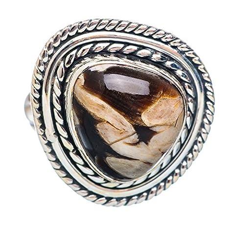 Peanut Wood Jasper, Erdnussholz Jaspis 925 Sterling Silber Ring 6