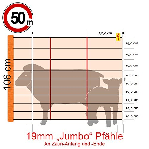 Göbel Clôture électrique d'alimentation Euro Kombi Filet Jumbo 50 m Long 106 cm de haut 15 piquets double pointe