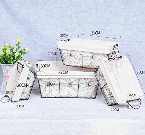 Nordic cesta de almacenamiento con revestimientos de color blanco hierro  arte de almacenamiento cesta – Set de 4 piezas a69e0736130f