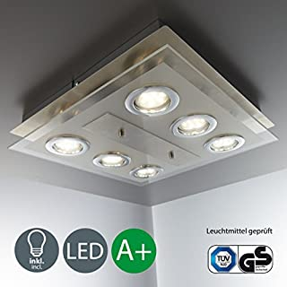 B.K.Licht LED ceiling light I Modern light fitting Living room, Bedroom light fixture I Kitchen lamp I eco-friendly I matte nickel I Modern design I warm white I 6 x 3 W lights I 230 V I GU10 I IP20