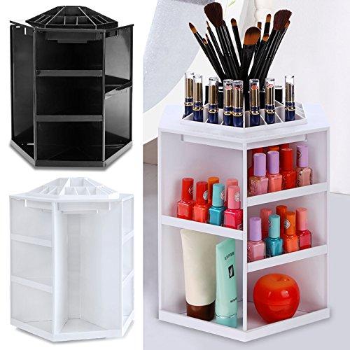 (FORIN 360-Grad Drehbarer Make Up Organizer Aufbewahrungsbox Kosmetik Schmuckbox mit 1-3 geschlossenen Schubladen Passend für Schminke, Gesichtswasser weiß/schwarz)