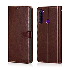 WOW Imagine Redmi Note 8 Flip Case | Leather Finish | Inside TPU with Card Pockets & Stand | Magnetic Closure | Shock Proof Wallet Flip Cover for Xiaomi Redmi Note 8 – Chesnut Brown