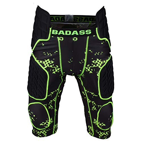 Badass Digi Protection American Football 7 Pad Unterhose - schwarz/neongrün Gr. L