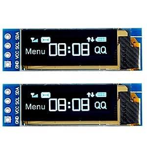 MakerHawk 2pcs I2C OLED Module d'affichage 0.91 pouce I2C SSD1306 OLED Module d'affichage Blanc I2C OLED Pilote d'écran DC 3.3V ~ 5 V pour Arduino