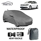 #8: Fabtec Waterproof Car Body Cover for Volkswagen Polo with Mirror & Antenna Pockets + Storage Bag Combo! and Full Bottom Elastic, Big Belt Buckle Lock